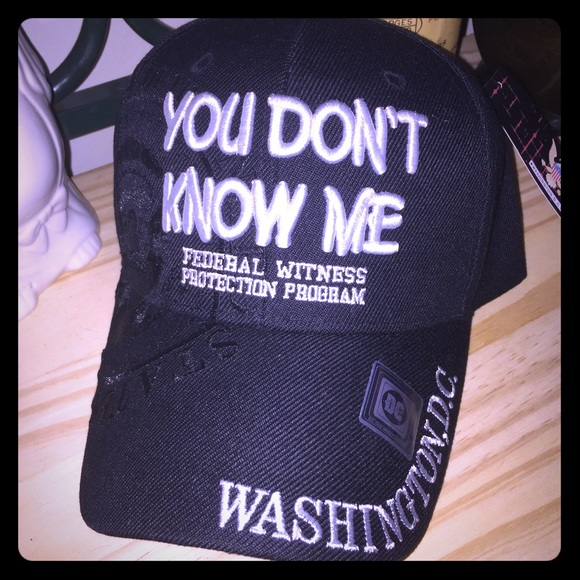 """622ac5b03d4 Accessories - 🔍""""YOU DON T KNOW ME"""" BLACK BASEBALL CAP🔎"""